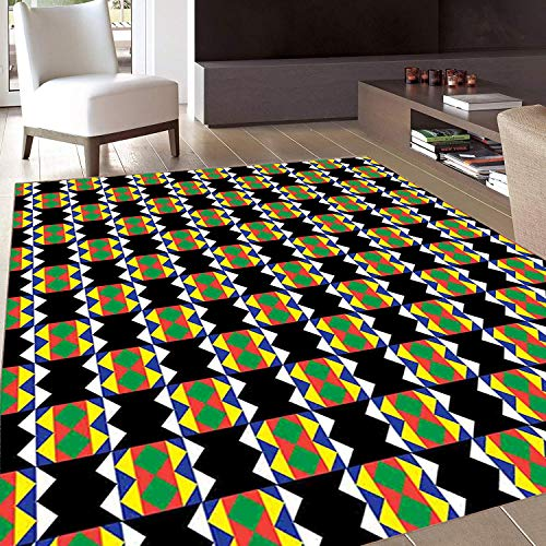 (Rug,Floor Mat Rug,Kente Pattern,Area Rug,South African Ethnic Zulu Design with Triangle Details Funky and Primitive,Home mat,4'x5'Multicolor,Rubber Non Slip,Indoor/Front Door/Kitchen and Living Room/B)