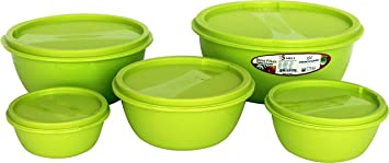 Princeware Multipurpose Plastic Storage Durable Long Lasting Bowl package Container Set, Set of 5, Green Jars   Containers