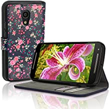 iGadgitz 'Designer Collection' Wallet Flip Pink Rose Floral Pattern PU Leather Case Cover for Motorola Moto G 2nd Generation 2014 XT1068 (G2) With Card Slots + Multi-Angle Viewing stand + Magnetic Closure + Screen Protector