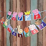 Partysanthe Peppaa Pig Happy Birthday Banner - 13 Pieces Multicolour