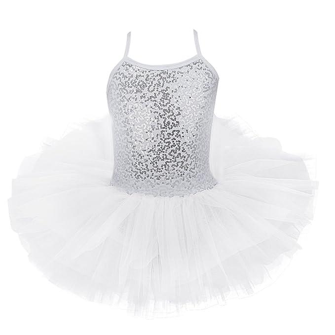 iiniim Maillot Vestido de Ballet Danza Niña Top con Lentejuelas Brillante Tutú Falda con Braga Interior Algodón Traje Infantil para Niña (4-8 años)