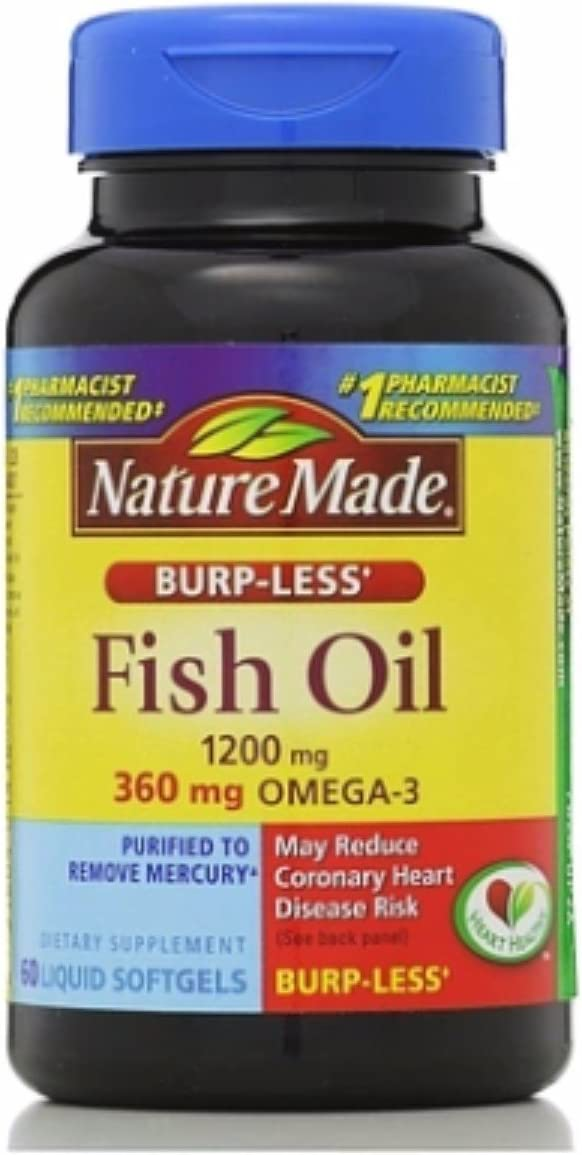 Nature Made Fish Oil, 1200 mg, Burp-Less, Liquid Softgels 60 ea (Pack of 4)