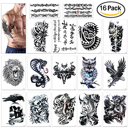 Temporary Tattoo for Guys for Man - Konsait Extra Fake Temporary Tattoo Black tattoo Body Stickers Arm Shoulder Chest & Back Make Up - Lion, Dead Skull,Koi Fish, Eagle Hawks (Guy Makeup)