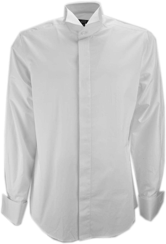 Grino Firenze Camisa de Hombre de Esmoquin Blanco de Cuello de Tragar La Cola del manguito de Los Gemelos de La Ceremonia: Amazon.es: Ropa y accesorios