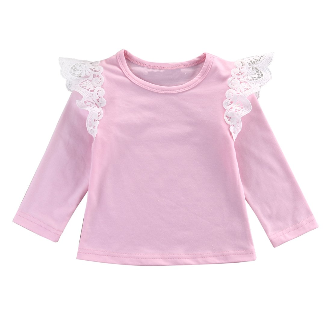 Lovely Baby Girl Lace Ruffle Long Fly Sleeve Tops Clothes Solid Color Ruffled Blouse