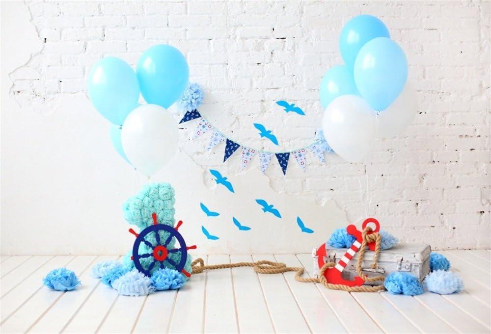 CdHBH 7x5ft Happy 1st Birthday Photo Booth Kids Girl Boy Blue Balloons Room Decoration Wallpaper First Birthday Photo Backdrop Cake Smash Background Photo Studio Props