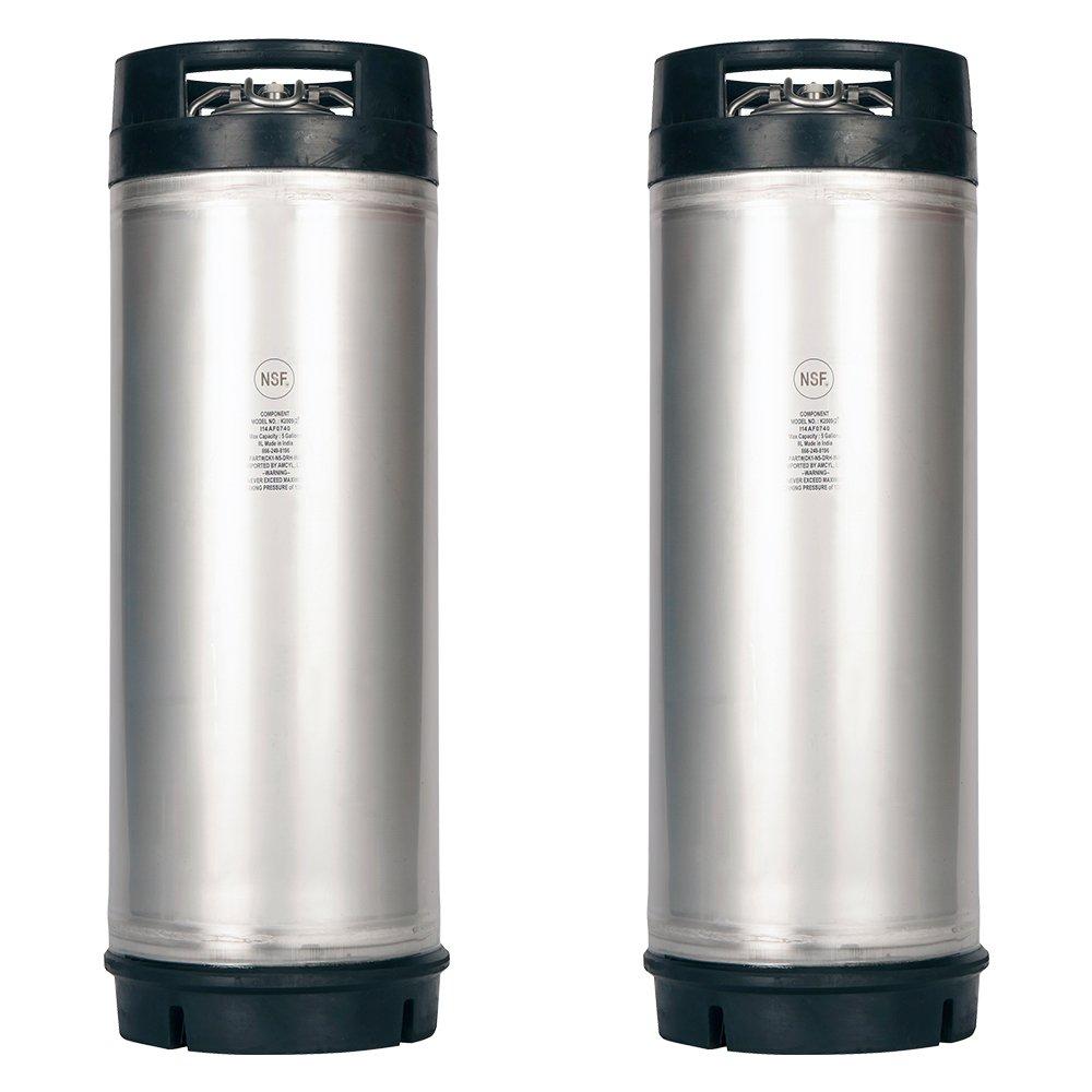 Two New 5 Gallon Ball Lock Kegs - Dual Rubber Handles + Free O-Ring Kit