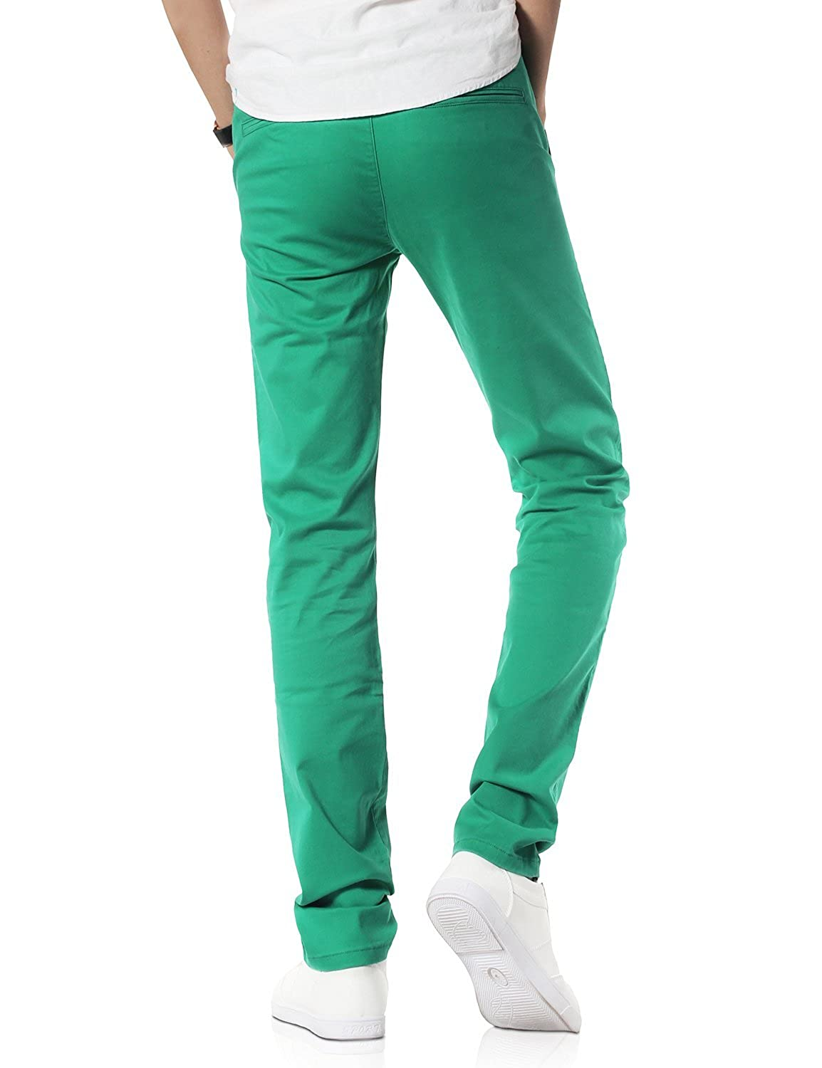 Demon&Hunter Men's Slim-Fit Peacock Green Chino Trousers S91Y6
