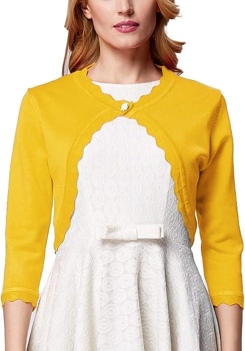 f8f2c405a17d GRACE KARIN Women 3 4 Sleeved Bolero Shrug Knit Cropped Knitwear Cardigan  Sweater Shrug Bolero