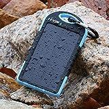 Levin Chargeur solaire portable robuste 5000mAh double sortie USB et lampe LED, Résistant aux intempéries, à la poussière et aux chocs(Bleu)