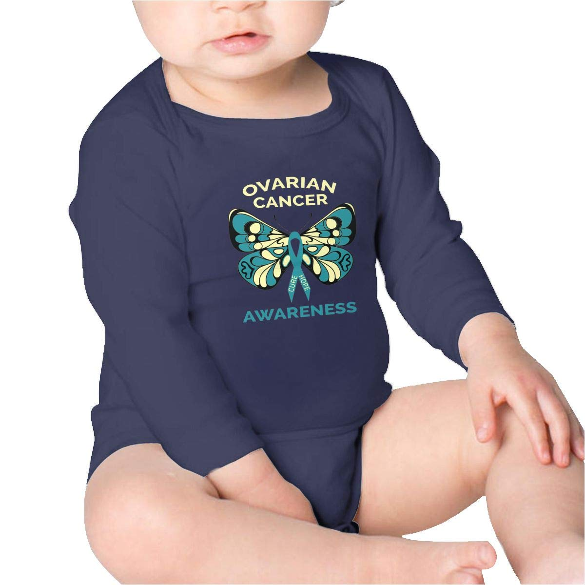 Pikaqiuleilei Ovarian Cancer Awareness Butterfly Teal Ribbon Boys Cotton,Long Sleeve Infantile Suit