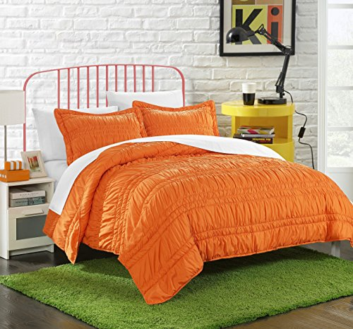 Chic Home 2 Piece Dreamer Super Soft Microfiber Pleated Ruffled Technique Quilt Set, Twin, Orange (Orange Quilt Twin)
