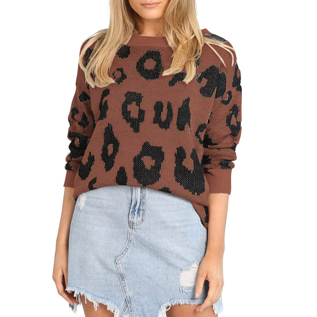 MOLFROA Womens Winter Long Sleeve Leopard Print Knits Loose Crew Neck Sweaters