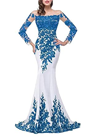 381a0fc95246 Emmani Women's Long Sleeve Bateau Mermaid Trailing Formal Evening Dresses  (0, Blue)