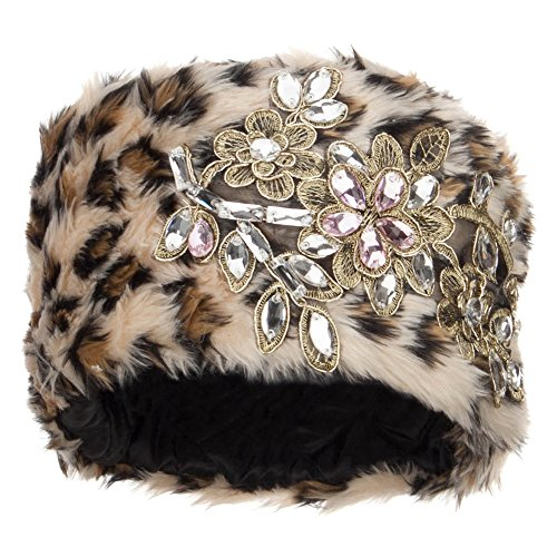 - SS/Hat Pillbox Faux Fur Flower Lace Hat - Leopard Beige OSFM