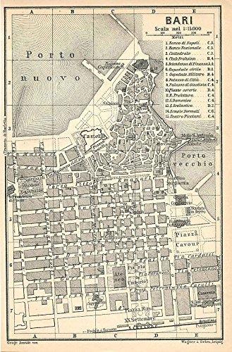 Amazon Com Bari Italy 1908 Fine Color Lithograph City Street Plan