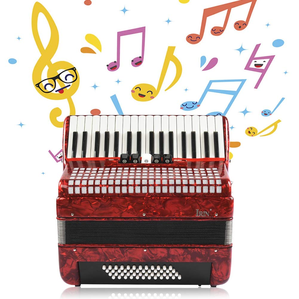 Accordion, 34 Keys 48 Bass Hand Piano Accordion Accordionist Music Instrument for Accordionists, Beginner, Adult(Red) by Jacksking