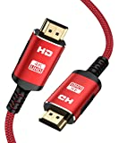 4K HDMI Cable, Snowkids High Speed HDMI 2.0 Cable 18Gbps, Support 3D, 1080P, 2160P, Audio Return, Ethernet, 4K HDR -Braided Cord Compatible for Video, PC, Projector, UHD TV, PS4, Blu-ray- 6.6FT Red