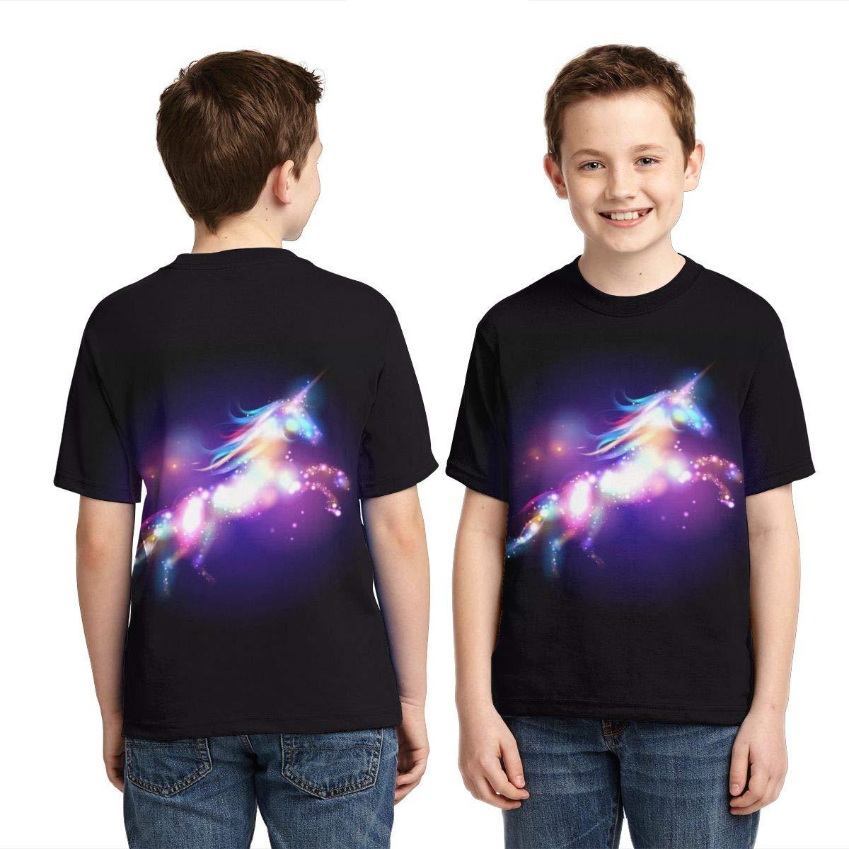 Dash Unicorn Unisex Child Teens Crew-Neck Short Sleeved T-Shirts Girls Boys Casual Tee Shirts Tops L
