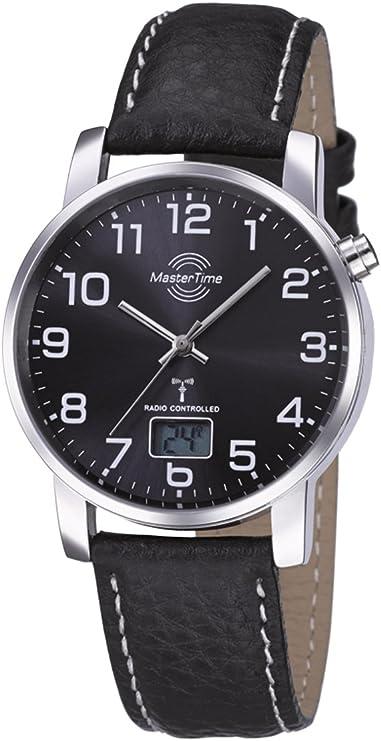 Radio reloj de pulsera Master Time Funk Basic Series para hombre (MTGA-10576-24L), correa de piel