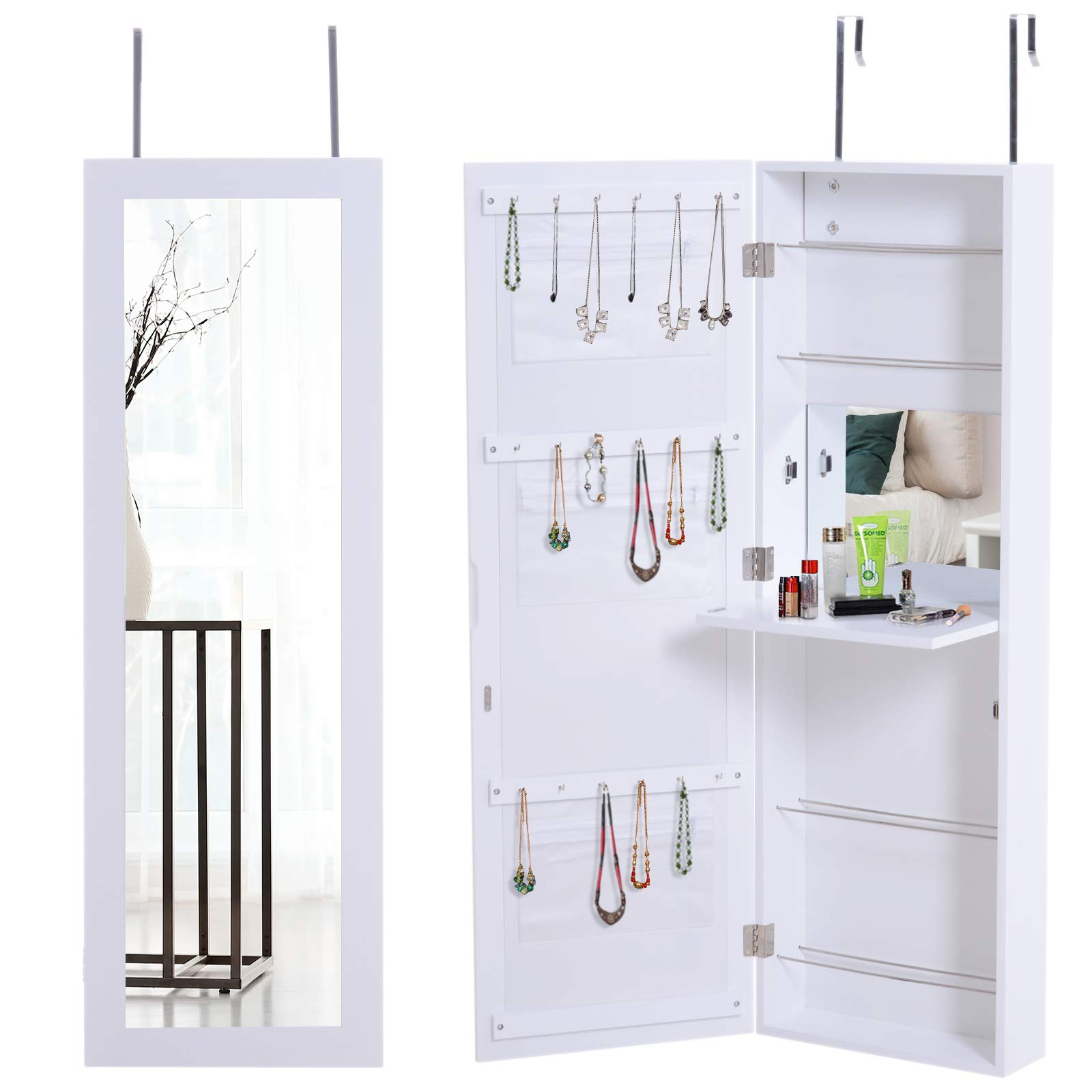 HOMCOM Wooden Over Door Wall Mounted Mirrored Jewelry Armoire Cabinet