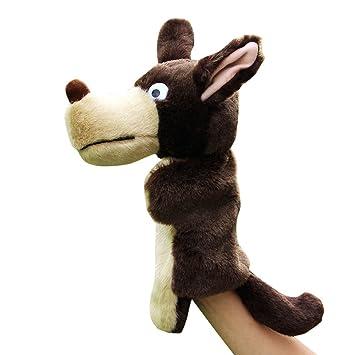 RemeeHi Lobo marioneta de Mano Cuentos Props Juguetes educativos para niños Peluches Lobo