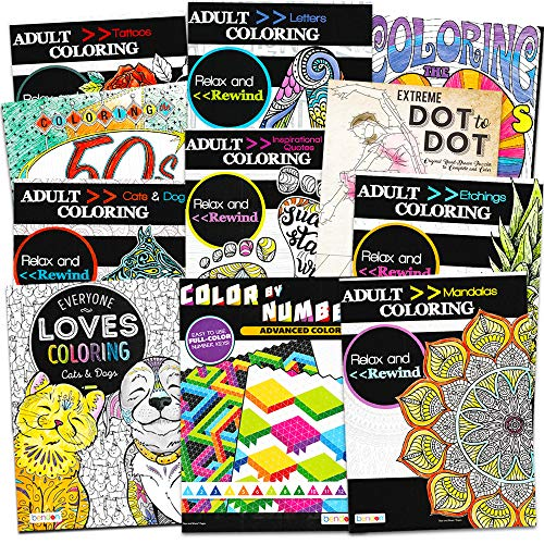Adult Coloring Books Super Set -- 11 Deluxe Coloring Books for Adults and Teens  ]()