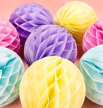 Sunbeauty 8er Wabenbälle Pastell Deko Papier Ball 20cm Rosa Lila