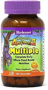 Bluebonnet Nutrition Rainforest Animalz Whole Food Based Multiple Chewable Tablet, Kids Multivitamin & Mineral, Vitamin C, D3, Iron, Gluten Free, Milk Free, Kosher, 180 Chewable Tablets, Orange Flavor