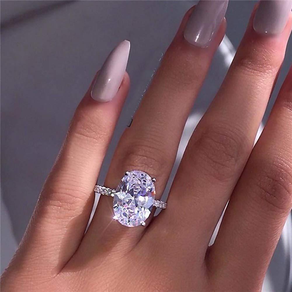 Amazon Com Weka Women Large Luxury Oval Silver Zircon Ring