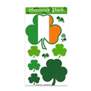 """Magnet Variety Pack (6 Magnets) - Shamrocks (Irish, Clovers, St. Patrick's Day) - Refrigerators, Cars, Mailboxes, Decoration - 1.75"""" to 4.75"""" Wide (Each Shamrock)"""