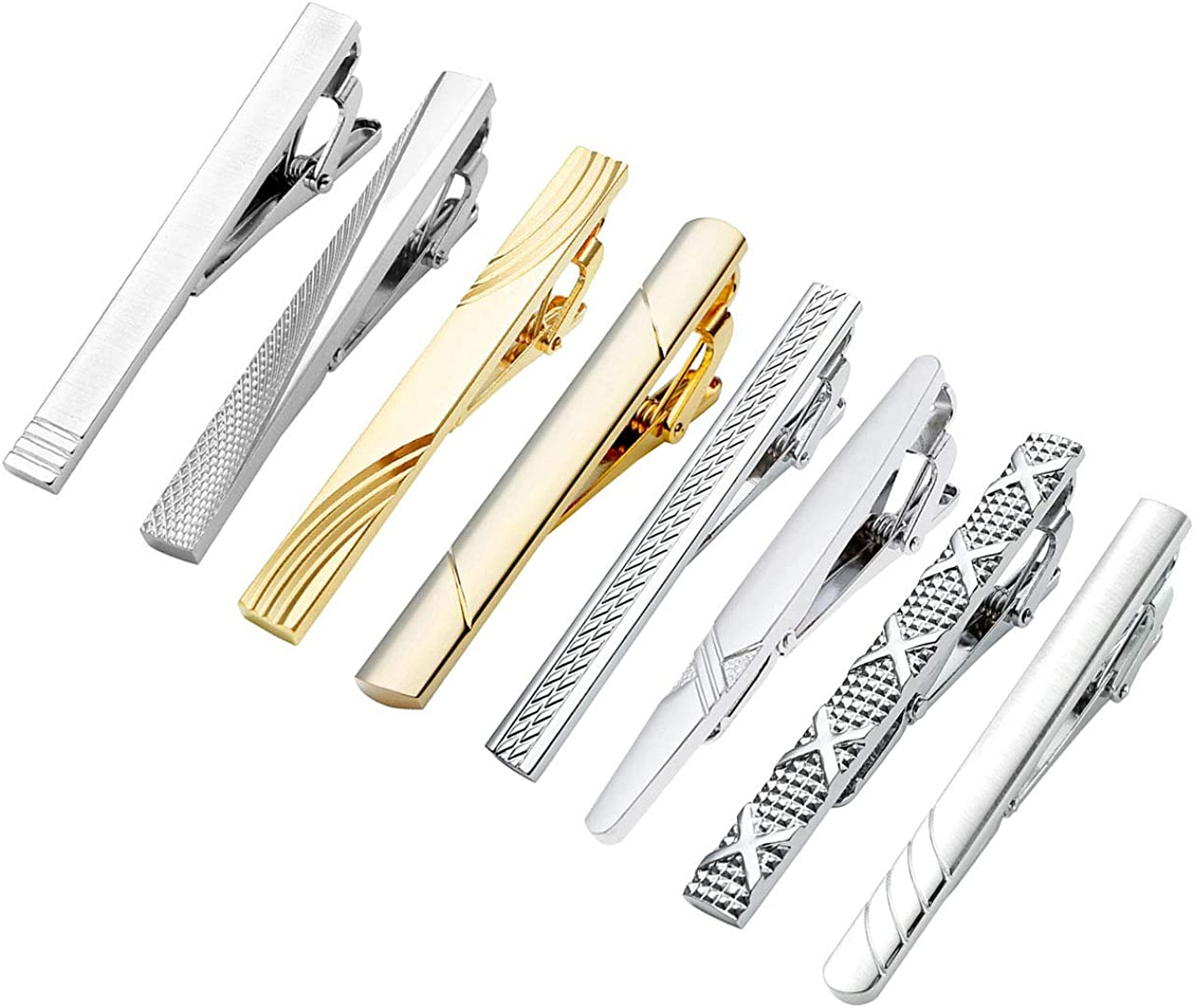 Jovivi 8pc Mens Stainless Steel Luxury Fashion Necktie Clips Bar Mix Variety Set - Black Gift Box