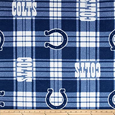 NFL Fleece Plaid Indianapolis Colts Blue Fabric By The Yard