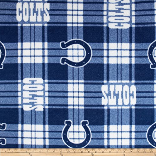 - Fabric Traditions 0374462 NFL Fleece Plaid Indianapolis Colts Fabric by The Yard, Blue
