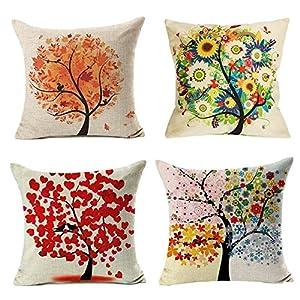 4 Pack Colorido Otoño Flor Árbol de Algodón de Lino Throw Pillow Case Funda de Almohada para cojín 45×45 cm, Gspirit