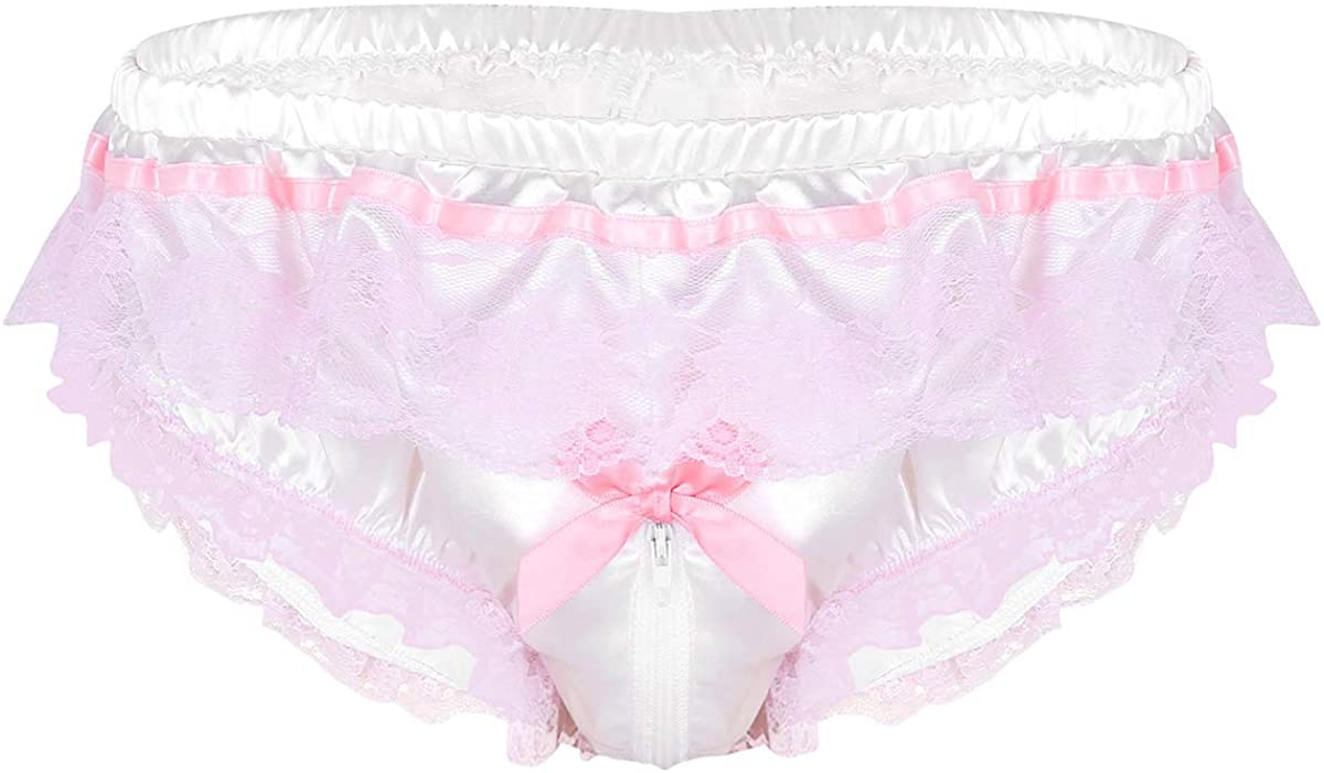 Men/'s Frilly Ruffled Floral Lace Bikini Briefs Sissy Pouch Panties Underwear US