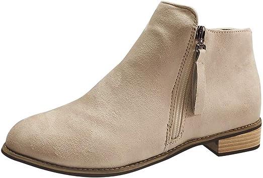 ღLILICATღ Cuñas para Mujer de Gamuza con Cremallera Borla Botines Zapatos Casuales Puntiagudo Boots Botines Zapatillas Plataforma: Amazon.es: Deportes y aire libre