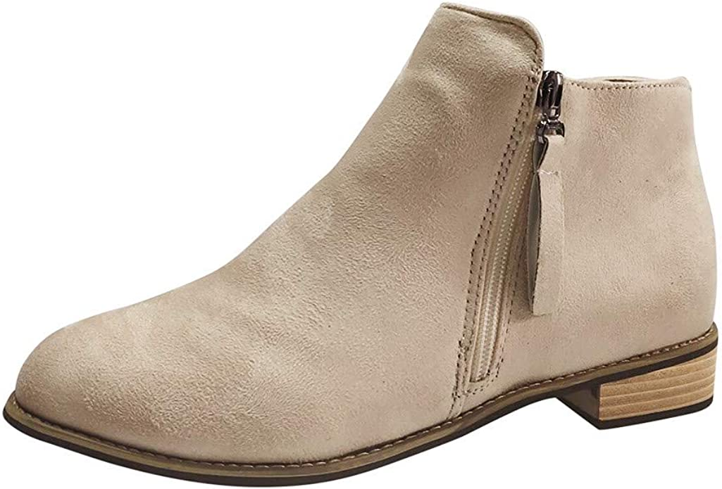 Amazon Com Trendinao Womens Ankle Boots Winter Fashion Pointed Toe High Heels Side Zipper Booties Shoes In Khaki Ankle Bootie