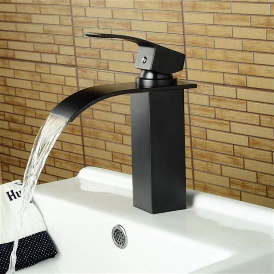 Faucet Vintage Plated Luxury Plating Faucet Faucet Washbasin Mixer Square Waterfall Faucet Bath Hot and Cold Washbasin Mixer Taps