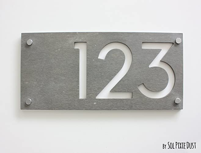 Modern House Numbers, Rectangle Concrete With White Acrylic   Contemporary  Home Address   Sign Plaque