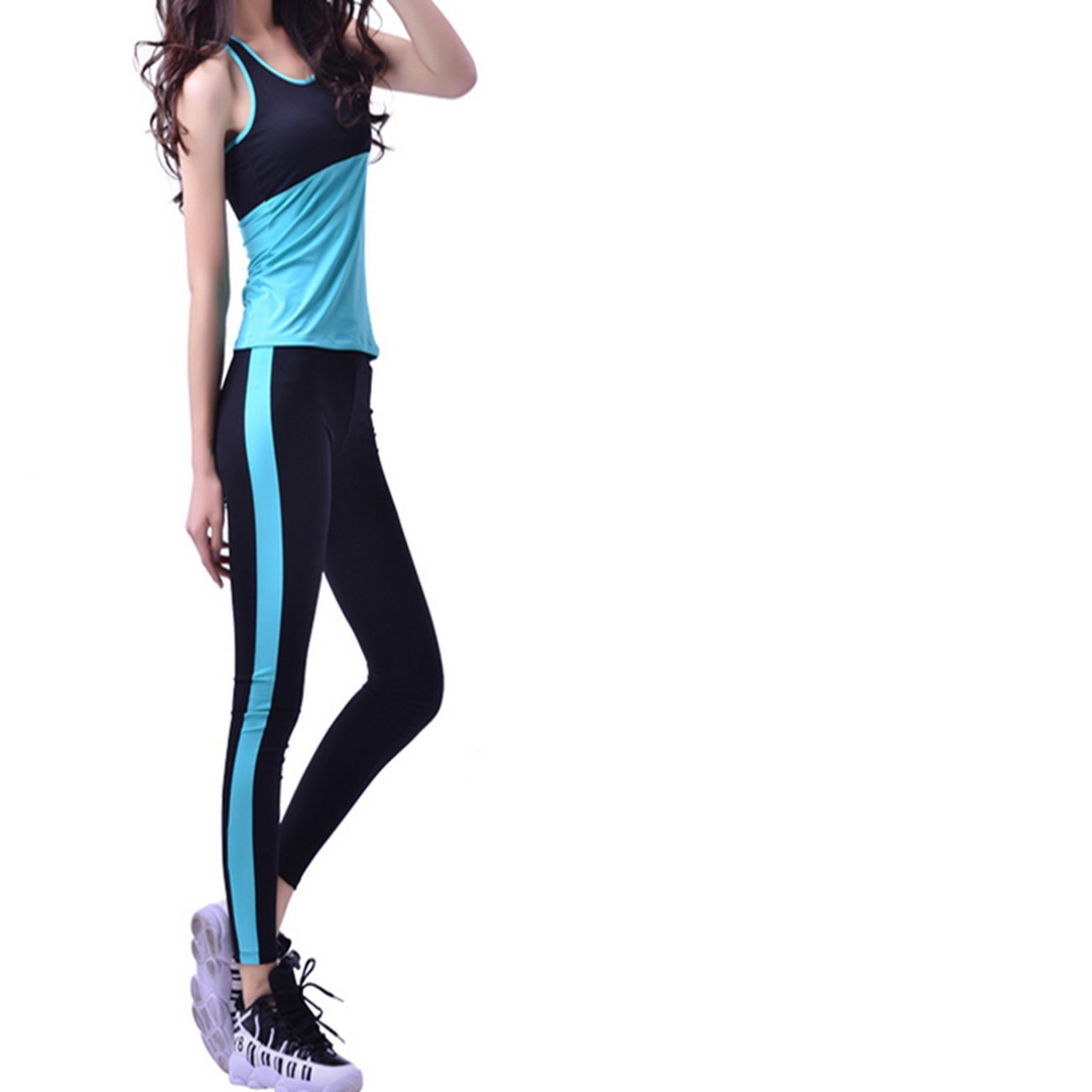 WENXINJIA Spring and summer spell color, running, sports, suits, women yoga clothing was thin nylon gym, sports, clothes spring. , Gym sportswear yoga clothes, yoga clothes suit sportswear, -01