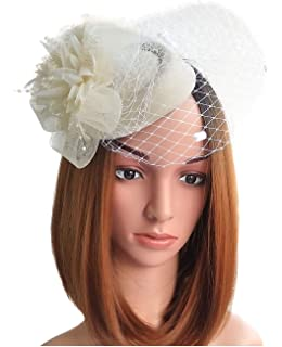 235f40acf2dac Coolwife Fascinator Hats Pillbox Hat British Bowler Hat Flower Veil Wedding  Hat Tea Party Hat
