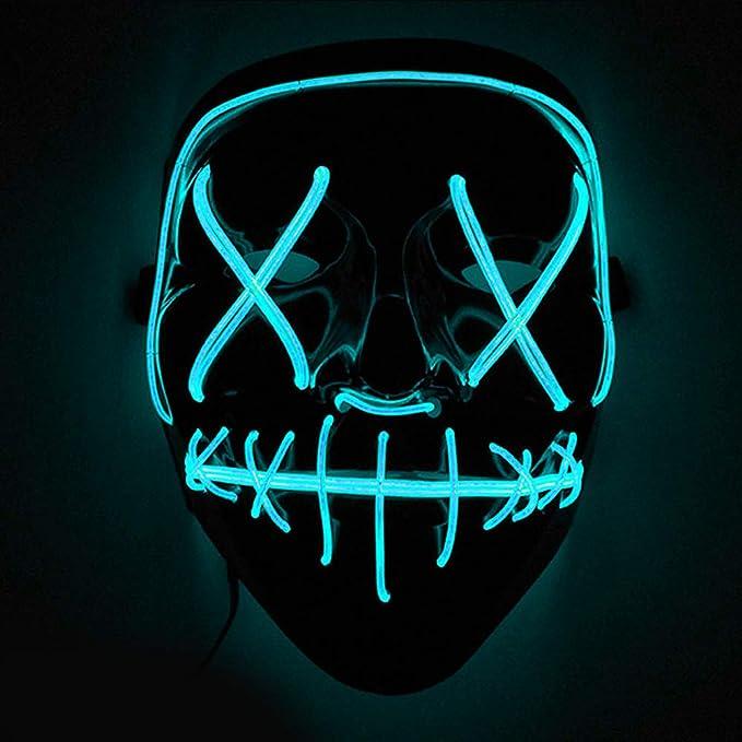 Máscaras led con luces neón para disfraz de color azul claro