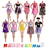 ASIV 10 Pcs Handmade Clothes for Barbie, 10 Pairs of Shoes for Barbie Dolls Girl's Gift