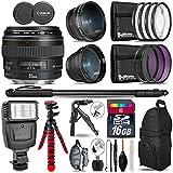 Canon EF 85mm f/1.8 USM Lens + 0.43X Wide Angle Lens + 2.2x Telephoto Lens + Flash + UV-CPL-FLD Filters + Macro Filter Kit + 72 Monopod + Tripod + 16GB Class 10 + Backpack - International Version