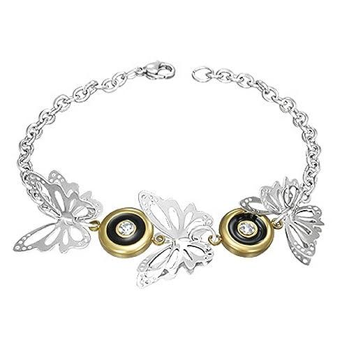 Amazon.com: Acero inoxidable Tres Tono 3d mariposa Círculo ...