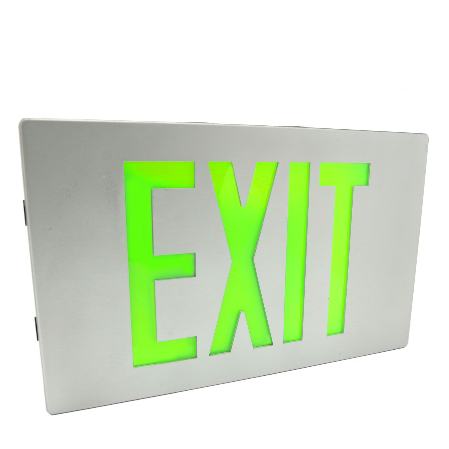 eTopLighting Die Cast Exit Sign LED Light Panel, Aluminum Brushed with Green Lettering, Wall and Ceiling Mount with Battery Back-Up, K-TEM-FD3DGG