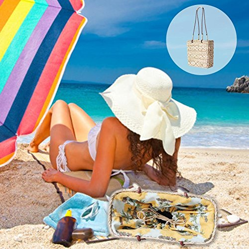 Naviga Bolsillo Ins Playa Mujeres Gespo La Té Ratán Con Nnene Nachahmte Paja Tipo Interior Para Funda De Recto qqwF6Br