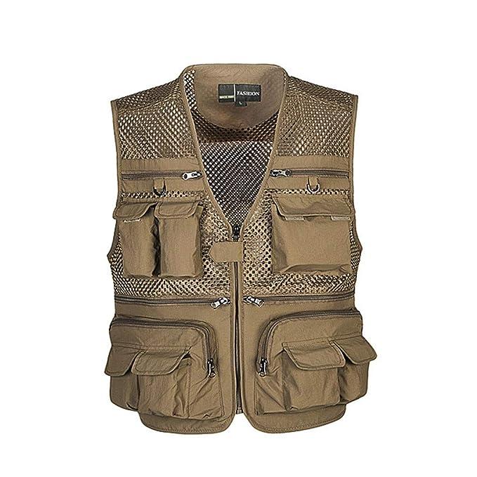 ... aire libre casual hueco de múltiples bolsillos de gran tamaño de malla fotografía que acampa caza pesca chaleco chaqueta: Amazon.es: Ropa y accesorios