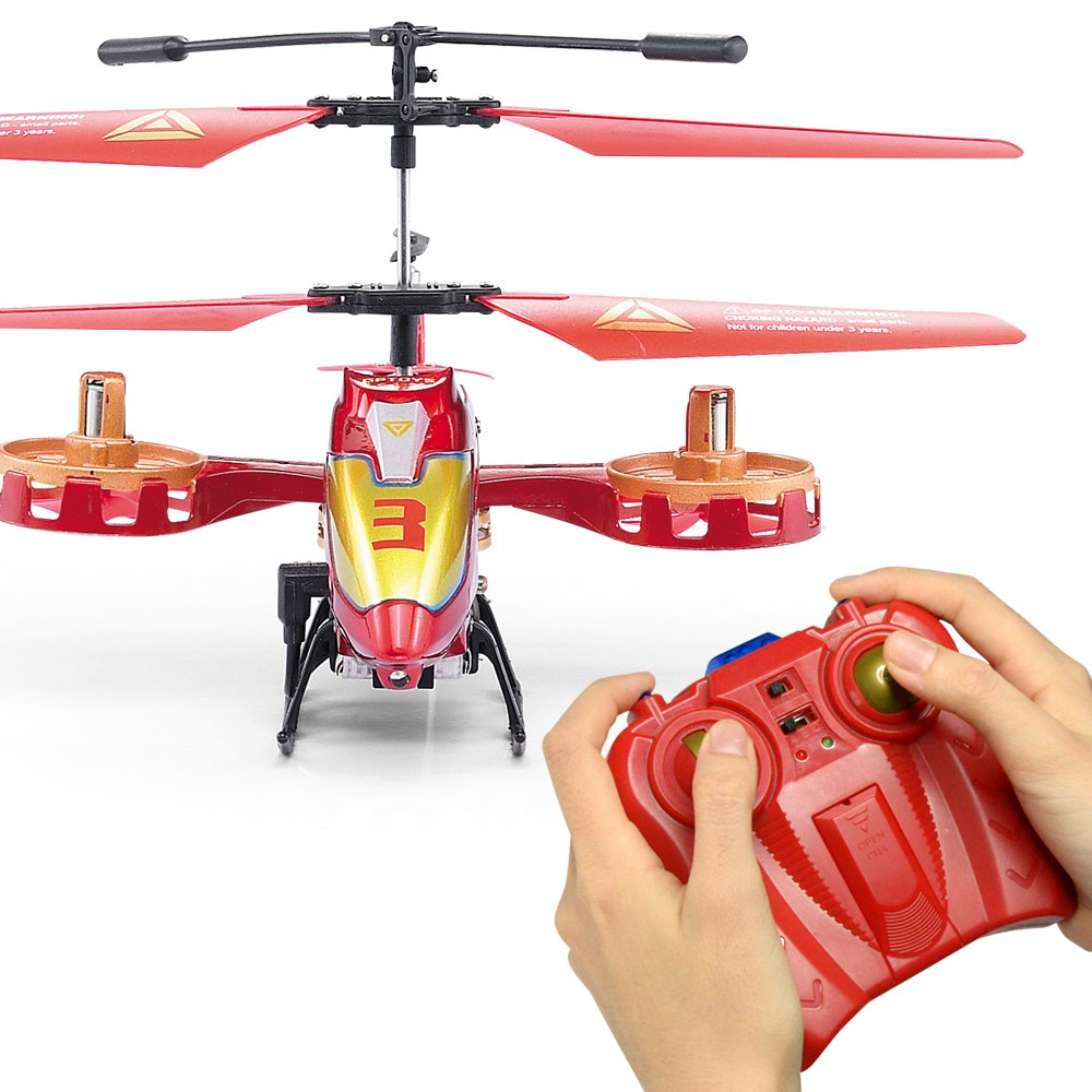 GPTOYS Remote Control Helicopter 4 Channel RC Helicopter with LED Light Indoor Rechargable RC Toys for Kids Boys and Girls